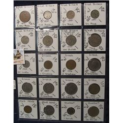 634. (20) World Coins in a Plastic Page, all identified with KM no. value, mintage, medal, & etc. In
