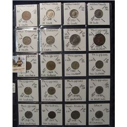 636. (20) World Coins in a Plastic Page, all identified with KM no. value, mintage, medal, & etc. In