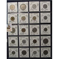638. (20) World Coins in a Plastic Page, all identified with KM no. value, mintage, medal, & etc. In