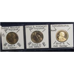 648. 2015 P & D Kennedy Dollar & 2015 S Proof Native American Dollar. Red Book $10.00.