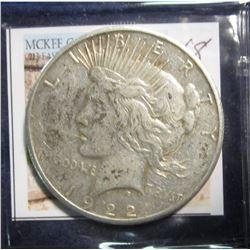 668. 1922 S U.S. Peace Silver Dollar. VF 20. Toned obverse.