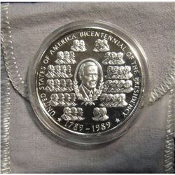 "675. 1789-1989 ""United States of America Bicentennial of the Presidency"" 1 Ounce .999 Fine Silver. E"