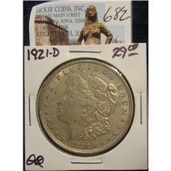 682. 1921 D U.S. Morgan Silver Dollar. VF 20.