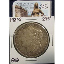 686. 1921 S U.S. Morgan Silver Dollar. VF 20.