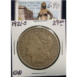 690. 1921 S U.S. Morgan Silver Dollar. F-12.