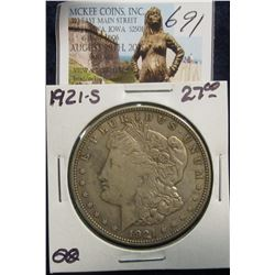 691. 1921 S U.S. Morgan Silver Dollar. F-12.