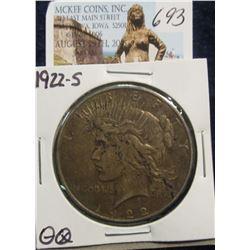 693. 1922 S U.S. Peace Silver Dollar. VF-20. Dark natural toning.