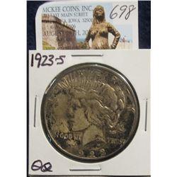 698. 1923 S U.S. Peace Silver Dollar. Toned dark VF 20.