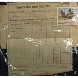 700. World War I era March 23, 1917  Treasurer's Office, Monroe County, Iowa  Tax Receipt signed by