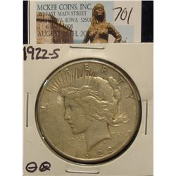 701. 1922 S U.S. Peace Silver Dollar. VF-20.