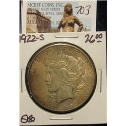 703. 1922 S U.S. Peace Silver Dollar. VF-20. Toned.