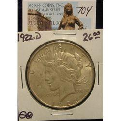 704. 1922 D U.S. Peace Silver Dollar. EF 40.