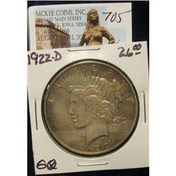 705. 1922 D U.S. Peace Silver Dollar. VF 20. Toned.