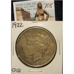 708. 1922 P U.S. Peace Silver Dollar. VF 20.