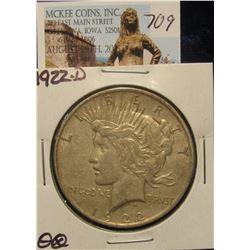 709. 1922 D U.S. Peace Silver Dollar. VF 20.