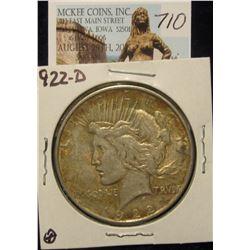 710. 1922 D U.S. Peace Silver Dollar. VF 20. Toned.