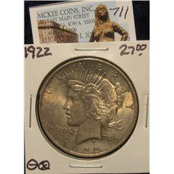 711. 1922 P U.S. Peace Silver Dollar. Toned AU 50.