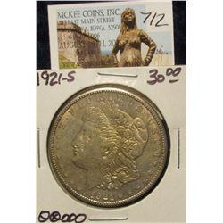 712. 1921 S U.S. Morgan Silver Dollar. EF 40.