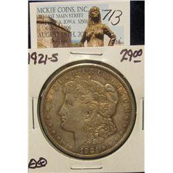 713. 1921 S U.S. Morgan Silver Dollar. EF 40.
