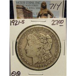 714. 1921 S U.S. Morgan Silver Dollar. F-12. Tick marks on both rims.