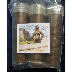 729. 1953 D, 54 D, & 55 D Solid date U.S. Wheat Lincoln Cent Rolls in plastic tubes. Circulated.