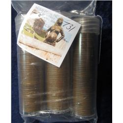731. 1953 D, 54 D, & 55 D Solid date U.S. Wheat Lincoln Cent Rolls in plastic tubes. Circulated.