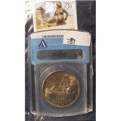 735. 1935 Canada Silver Dollar. Superbly toned. ANACS slabbed MS 65.