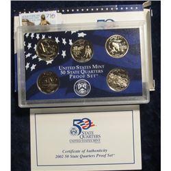 740. 2002 S U.S. Mint State Quarter Proof Set. (5 pcs.) Original as issued.