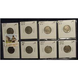 741. 1935P, D, S, 36P, D, S, 37P, & D.Buffalo Nickels. G-VF.
