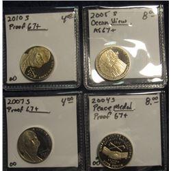 743. 2004 S Proof Peace Nickel; 2005 S Ocean View Proof 67 Nickel; 2007 S Proof 67 Return to Montice