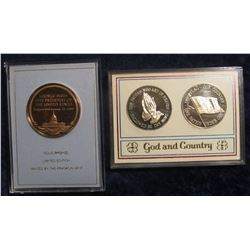 """747.(3) Franklin Mint Medals – 1989 Bush Inauguration and a 2 Coin """"God & Country"""" medal set, all i"""