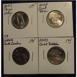 750. 2000 D South Carolina, 2013 P & S Great Basin, Nevada; & 2013 S Perry's Victory, Ohio Commemora