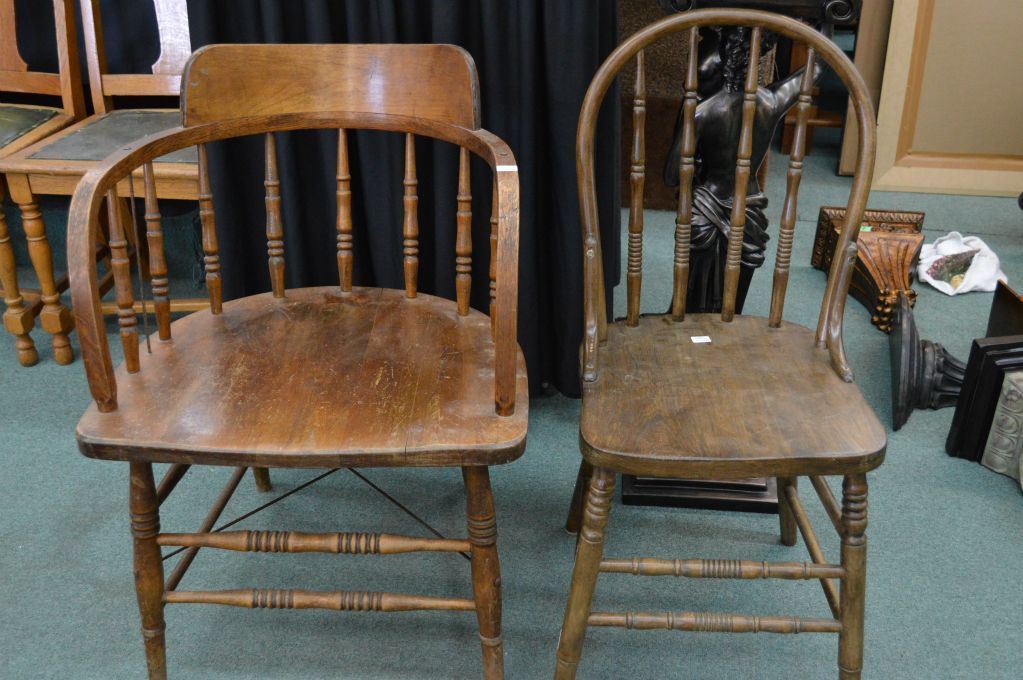 Vintage Wooden Chairs >> Two Vintage Wooden Chairs Including Cnr Captain S Style Chair