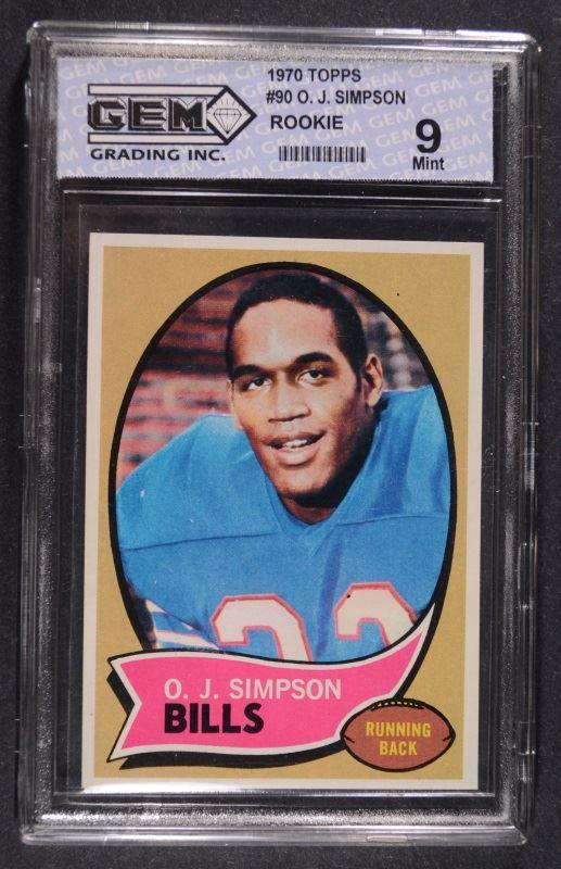 1970 Topps Oj Simpson Rookie Card Mint 9
