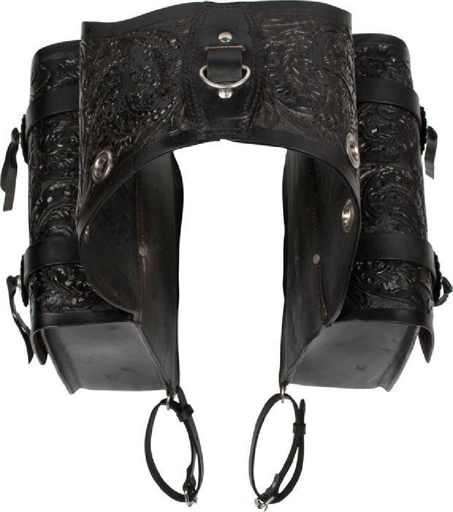 New Extra Large Black Carved Western Leather Horse Saddle Bags 9674