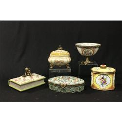 Set of 4 ceramic & brass boxes & compote
