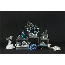 9 Baccarat Glass Figures