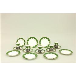 Coalport Porcelain & Sterling Demitasse Set