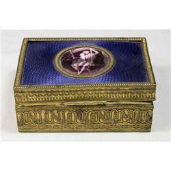 Enamel & Brass Jewelry Box