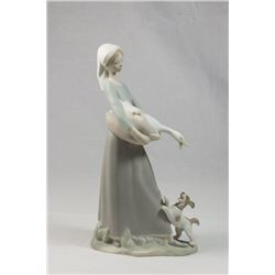 Lladro Girl with Goose & Dog