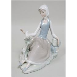 Lladro Seated Girl with Bird