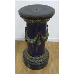 Majolica Cobalt Pedestal with Swag Design
