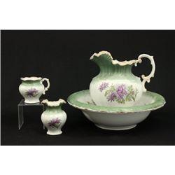 Victorian Porcelain Wash Basin, Pitcher, Vase, Cup