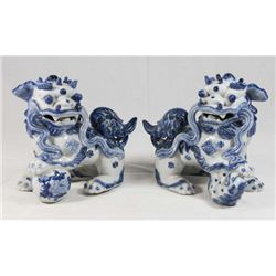 Pair Chinese Blue & White Porcelain Foo Dogs