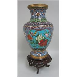 Chinese Cloissone Vase on Stand