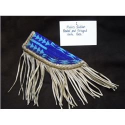 "Plains Beaded and Fringed Knife Case  7""L X 2.5""W"