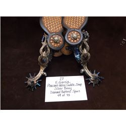 E. Garcia-Pleasant Valley Saddle Shop-Silver Inlay Diamond Buttons Spurs- 49 of 75