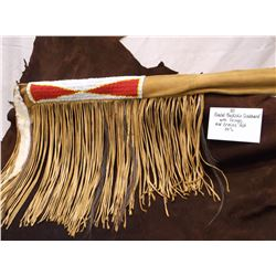 "Beaded Buckskin Scabbard with Fringe and Ermine Pelt-54"" L"