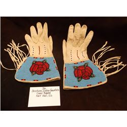 Floral Beaded/ Shoshone Indian Gauntlets/ Fort Hall, ID