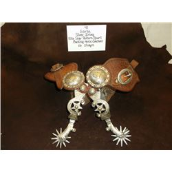 Garza/ Silver Inlay/ Elko Star Pattern Spurs/ Bucking Horse Conchos on Straps